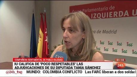 Tania Sánchez, en la noticia del Canal 24 Horas