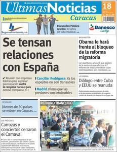 La portada del diario 'Últimas noticias'.