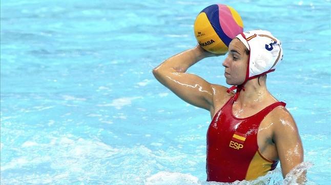 Anni Espar, en el Campeonato de Europa de waterpolo.