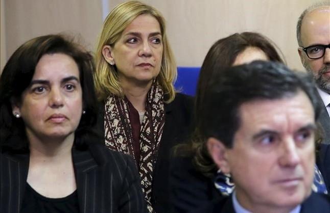 La infanta Cristina, el pasado 11 de enero, en el banquillo de los acusados durante el inicio del juicio por el caso Nóos.