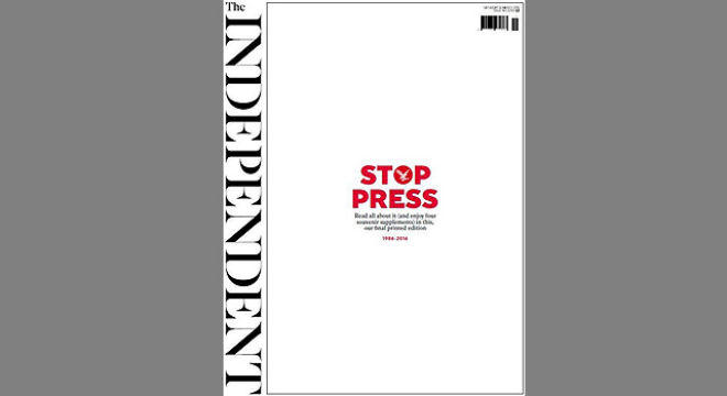 La última portada impresa de The Independent