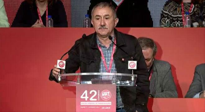Álvarez durante su discurso como nuevo secretario general de UGT.
