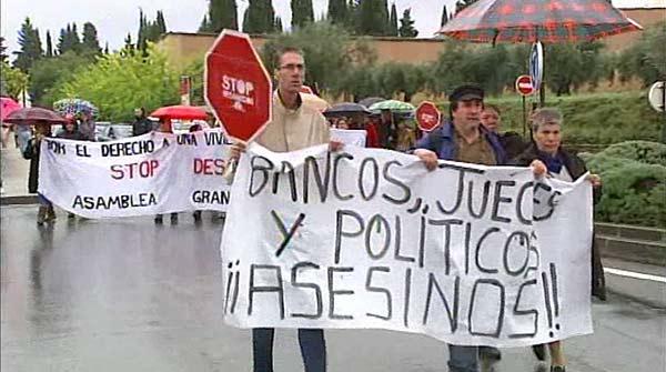 Stop Desnonaments culpa els banquers i els polítics del suïcidi de Granada