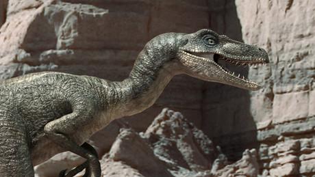 Recreación para la tele de dos dinosaurios.