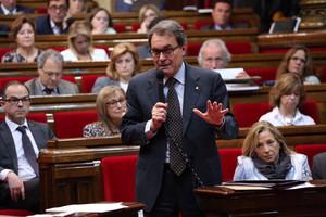 Artur Mas, durant la seva intervenció en el ple del Parlament, aquest dimecres.