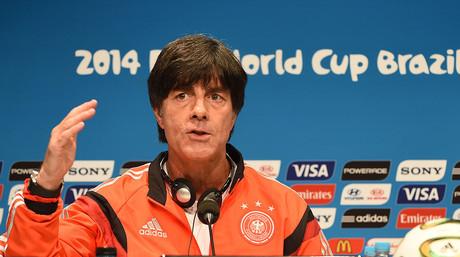 El seleccionador alemán, Joachim Löw, durante la rueda de prensa que ha ofrecido en Maracaná previa a la final del Mundial contra Argentina