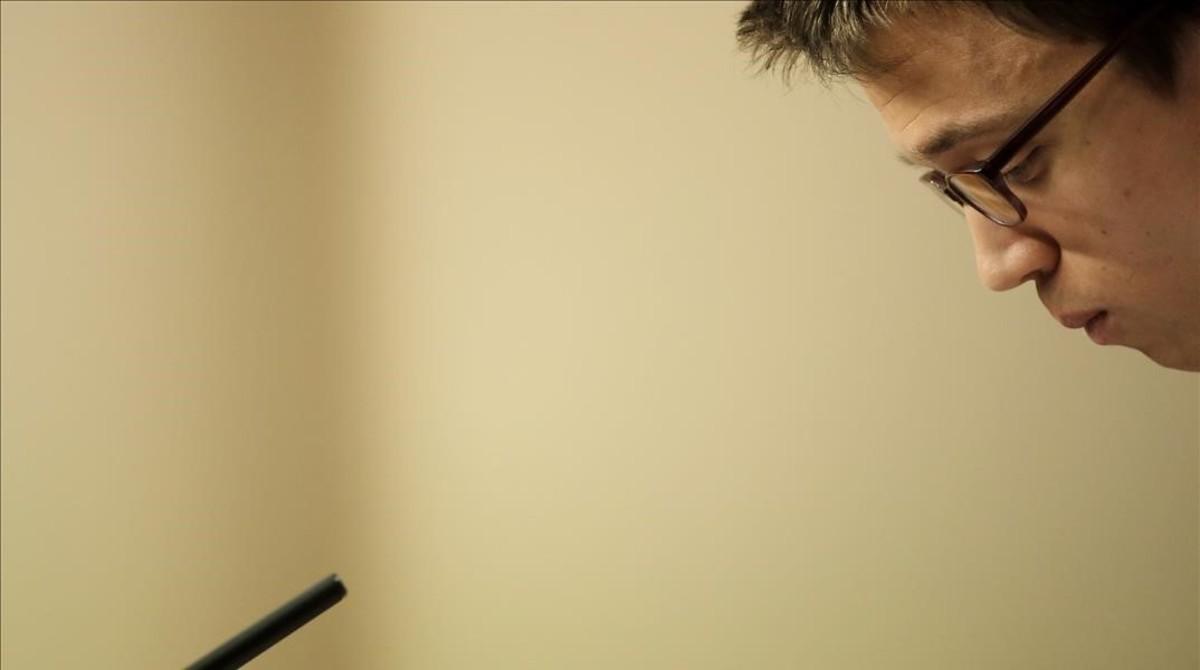 Íñigo Errejón, durante su primera rueda de prensa tras el silencio de dos semanas.