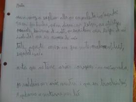 La carta del niño dirigida a sus compañeros por el trato que le dispensan.
