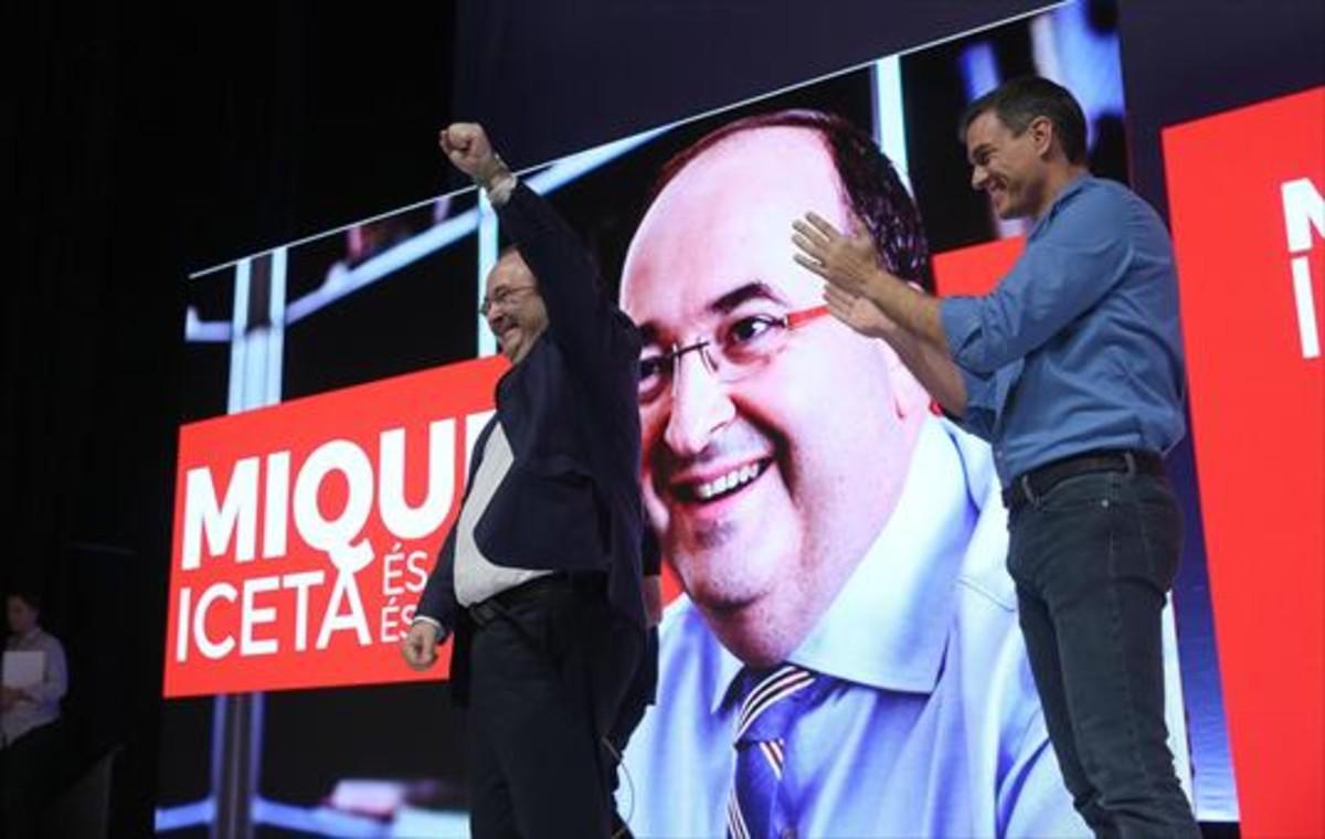 Pedro Sánchez, en la investidura de Miquel Iceta como candidato a la Generalitat.