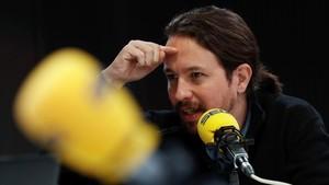 El secretario general de Podemos, Pablo Iglesias, durante la entrevista de la cadena Ser de este lunes.