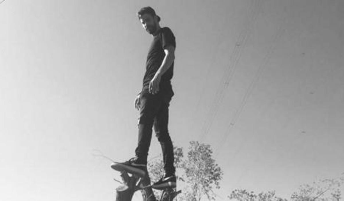 Gerard Piqué subido a un árbol.