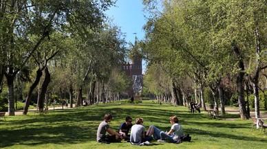 Un grupo de amigos, en el parque de la Ciutadella.