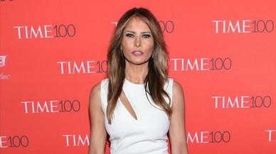 Melania Trump posando en el photocall de la gala TIME en 2016.