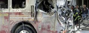 Un camió de bombers cremat, a prop del World Trade Centerdesprés dels atemptats de l'11 de setembre del 2001 a Nova York.