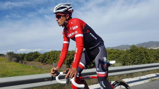 Contador, en pleno entrenamiento, este martes.
