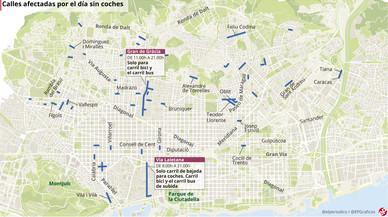 Mapa de las calles cortadas en Barcelona por el Día sin Coches 2017