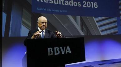 Francisco González, durante la presentación de resultados del 2016.