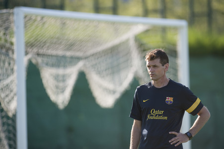 Tito Vilanova, durante un entrenamiento, el pasado julio. 