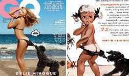 Kylie Minogue (izquierda) y el anuncio original.