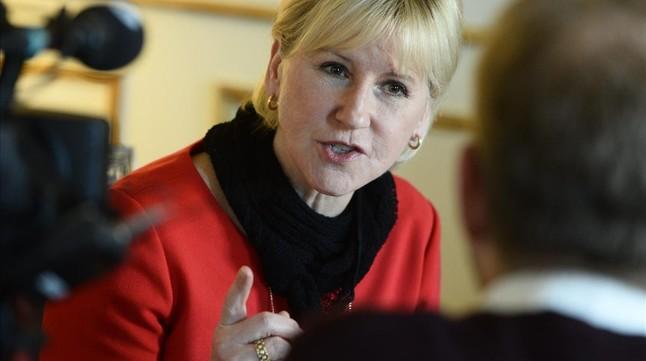 La ministra de Exteriores sueca, Margot Wallström, ayer.