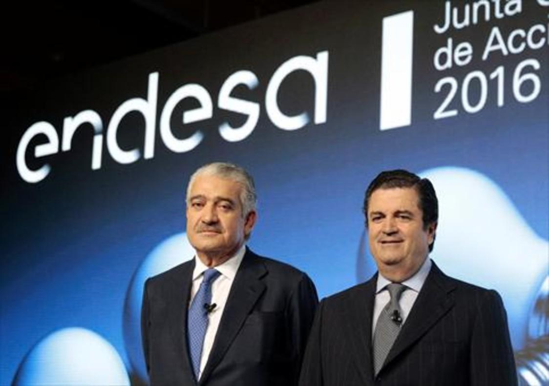 José Damián Bogas y Borja de Prado, consejero delegado y presidente de Endesa, el pasado mes de abril.