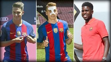 Denis Su�rez, Lucas Digne y Samuel Umtiti son tres de los refuerzos del Bar�a 16-17.