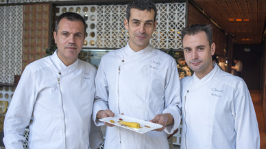 Oriol Castro, Mateu Casañas y Eduard Xatruch, en Disfrutar.