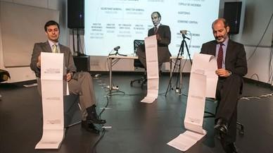 Elies Barberà, Albert Pérez y Josep Julien, en un ensayo de 'Hazte banquero'.