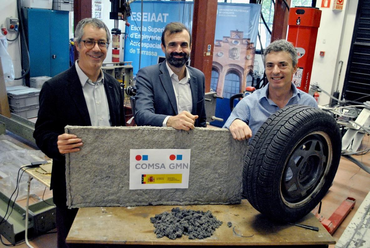 La UPC de Terrassa crea un aïllament tèrmic i acústic amb fibres tèxtils de pneumàtics