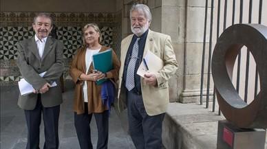 Vicent Pitarch, Teresa Cabr� y Joandom�nec Ros, esta ma�ana en el IEC.