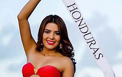 Mar�a Jos� Alvarado, que ten�a 19 a�os, con la banda de Miss Honduras