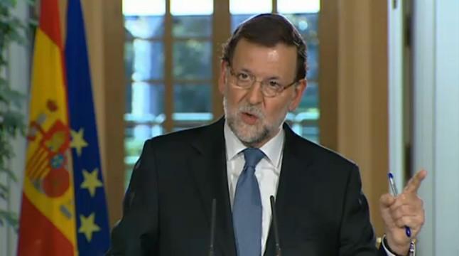 El presidente, Mariano Rajoy, durante la comparecencia ante la prensa.