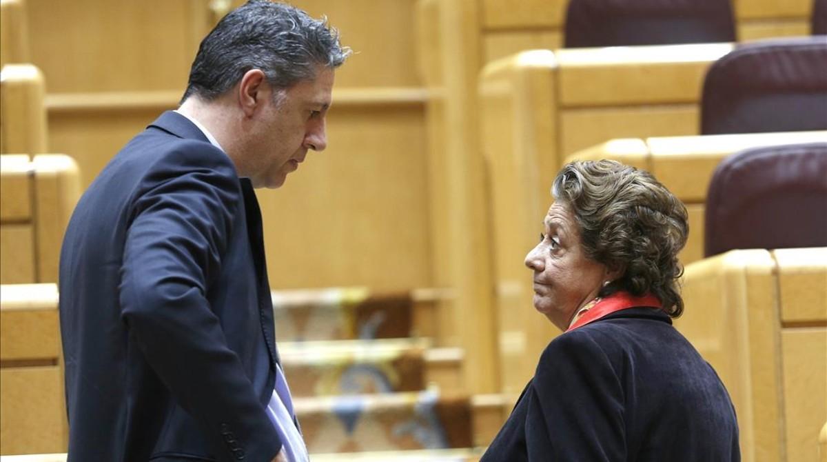 Xavier García Albiol y Rita Barberá, en el Senado, el pasado 15 de marzo.