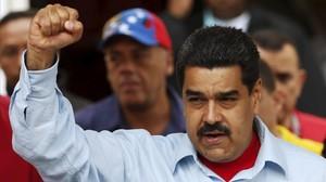 El presidente de Venezuela, Nicolás Maduro, en un mitin en Caracas, Venezuela.