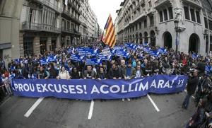 Manifestacion en Barcelona por los refugiados Casa meva, Casa vostra.