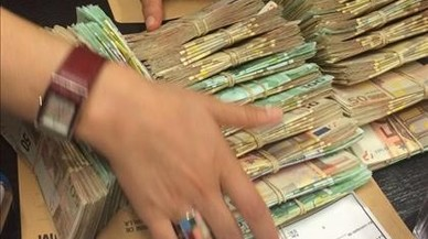 Dinero negro incautado por la Agencia Tributaria en una discoteca de Barcelona