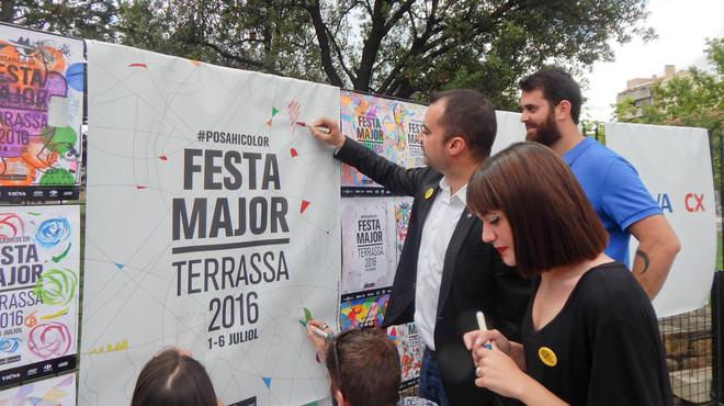 El alcalde de Terrassa, Jordi Ballart, durante la presentaci�n del programa de Fiesta Mayor.