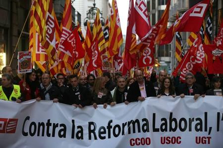 Manifestaci�n contra la reforma laboral, en febrero del 2014 en Barcelona.