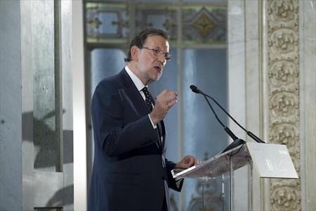 Rajoy, durante la conferencia que pronunci� ayer en Madrid.