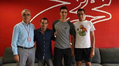 Ramon Terrassa (director del centro), Gervasio Deferr (exgimnasta y entrenador), Joel Gonz�lez (taekuondista) y Joan Munar (atleta paral�mpico), en el CAR de Sant Cugat.