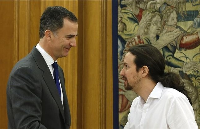 El Rey, Felipe VI, y Pablo Iglesias