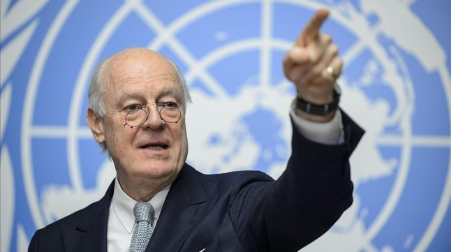 Staffan de Mistura, durante la rueda de prensa, este lunes, en Ginebra.