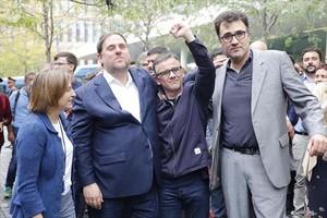 Carme Forcadell, Oriol Junqueras, Josep Maria Jové<br/>y Lluís Salvadó, ayer, en la Ciutat de la Justícia.