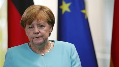 La canciller alemana, Angela Merkel, en una rueda de prensa en Berlin, el 24 de junio.