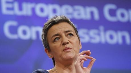 La comisaria europea de Competencia Margrethe Vestager en una rueda de prensa en Bruselas, B�lgica.