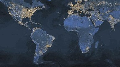 Densitat. La imatge nocturna mostra la concentraci� de la poblaci� a les ciutats