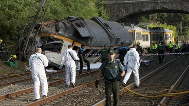Descarrilamiento de un tren en Pontevedra