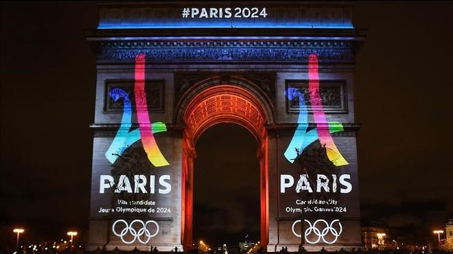 Momento en el cual se mostr� el nuevo logo de la candidatura Par�s 2024