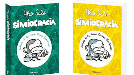 Portada castellana y catalana de 'Simiocracia'.