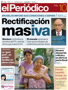 Portada de El Peridico del martes, da 10.